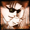 chomiji: Legal Drug's Saiga and Kakei, snuggling, Saiga's sunglasses have a gleam of light (Saiga-Kakei - gleam in his eye)