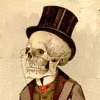 sophiap: skeleton with top hat and monocle (dressing up)