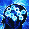 wasuremono: A silhouette of a human head full of gears, shooting blue sparks. (Neuroscientastic)