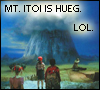 "wasuremono: Ninten, Loid, and Ana from Mother (Earthbound Zero) stare up at a huge mountain. Caption: ""Mt. Itoi is hueg. Lol."" (my god it's full of robots, mt. itoi)"