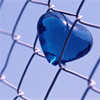 wasuremono: A heart made of blue glass, stuck between the links of a chain-link fence. (blue glass heart) (Default)