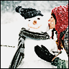 daemonluna: A girl in a red toque, kissing a snowman on the cheek (winter snowman kiss)