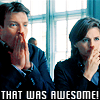 capn_mactastic: Castle and Beckett holding their hands to mouths.  Text reads: That Was Awesome (That was awesome)