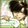 chomiji: Saiyuki's Hakkai with a pile of clean laundry and sparkles (Hakkai - fresh & clean)