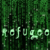 "matrixrefugee: the word 'refugee' in electric green with a background of green matrix code (""Welcome to my Life"")"