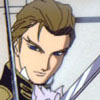redsixwing: Cropped screenshot of Treize from Gundam Wing behind crossed blades. (treize)