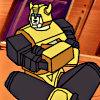 inkandpaper: G1 Bumblebee sitting on the floor of the Ark with his arms crossed, pouting (bumblebee)