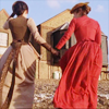 aphrodite_mine: two women in period garb face away from the screen. they are holding hands (tipping the velvet - into the sunset)