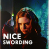 "jenwryn: Amy, with the words ""nice swording"". (doctor who • amy; nice swording)"