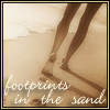 "phoenix: beach with bare legs, text ""footprints in the sand"" (bare legs)"