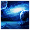 susanreads: galaxy with planets in foreground (blue on black) (astronomy)