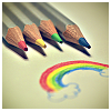 susanreads: coloured pencils and a rainbow drawn with them (rainbow)