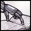 shanaqui: A drawing of cyborg hand poised over a book ((Me) Cyborgs still read books)