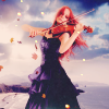 lireavue: A red-haired woman in a black dress, playing violin while leaves swirl around her. (Default)