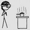kaberett: A stick figure wearing safety goggles taps their fingers together, standing over a pressure cooker on a stove. (xkcd-science)