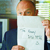 "originalpuck: Henry Spencer holding up a letter Shawn mailed in saying, ""The Nanny Did It - S."" (the nanny did it)"