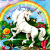 monsterqueen: Unicorn under a rainbow (Unicorn)
