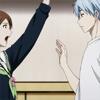 iwashere: Riko, surprised, as Kuroko appears. (kuroko: i was here)