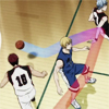 iwashere: Kuroko misdirecting the basketball around Kise for Kagami. (kagakuro: teamwork)