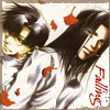 chomiji: Hakkai and Gojyo form Saiyuki, with autumn leaves drifting down and the caption Falling (Gojyo and Hakkai - falling)
