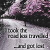 """belle_meri: A gravel road heads into woods. Image captioned """"I took the road less traveled... and got lost."""" (I Got Lost)"""