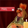 belle_meri: The Muppet's Beaker stares shocked at a fail button beside him. (Beaker Fails)