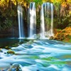 forests_of_fire: A picture of a brilliantly colored waterfall cascading into a river (Default)
