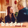 "deird1: Dawn looking at Spike, with text ""badder than you"" (Dawn badder than you)"