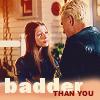 """deird1: Dawn looking at Spike, with text """"badder than you"""" (Dawn badder than you)"""