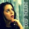 """deird1: Faith looking thoughtful, with text """"deep thought"""" (Faith thought)"""