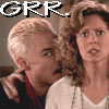"deird1: Spike mock-threatening Joyce, with text ""GRR."" (Spike grrr)"