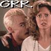 """deird1: Spike mock-threatening Joyce, with text """"GRR."""" (Spike grrr)"""