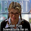 """deird1: Lilah dressed as Fred, with text """"Fred: Good. Pure. Science turns her on."""" (Lilah as Fred)"""
