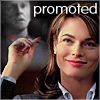 """deird1: Lilah having just beheaded Linwood, with text """"promoted"""" (Lilah promotion)"""