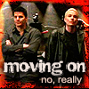 "deird1: Spike and Angel looking miffed over Buffy, with text ""moving on; no, really"" (Spike Angel moving on)"