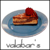"valabars: a slice of cheesecake on a blue plate, with the text ""valabar's"" (Default)"