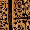 omens: iron work on wooden door (MOUSE iron-work door)