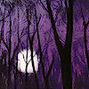 omens: moon shining through purple forest (MOUSE purple forest moon)