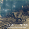 with: A bench with the word Loneliness below it (the lonely bench (kasiya))