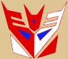 sharpest_asp: A simple geometric Decepticon symbol in blue, red, and white on a tan background. (Transformers: SG Con Logo)
