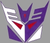 sharpest_asp: A simple Geometric Decepticon logo in purple, red and white on gray. (Transformers: Con Logo)