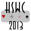"""hs_worldcup: The four quadrant suits (clubs, spades, hearts, and diamonds) are shown with the words """"HSWC 2013."""" (default, minimalistic, transparant)"""