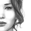 marusarel: a black and white half-face portrait of a stoic girl, zoomed in close (Incarnations: Mockingjay)