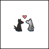 jenwryn: A little dog and a wolf, with a loveheart. (potter • remus/sirius; puppylove)