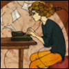 smw: A woman sits at a typewriter, pages flying, a plug in the back of her awesomely big-curly hair. (Please)