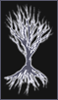 branchandroot: white silhouette of oak branches and roots (oak silhouette)