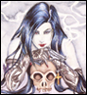 branchandroot: lady leaning on skull, with a gun (lady skull gun)