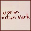 """parsnip: Pink box, red handwriting saying """"use an action verb."""" (Action verb)"""