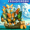 "crowdfunding: Ship with butterflies for sails, captioned ""Crowdfunding"" (Default)"