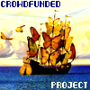 "crowdfunding: Small ship with butterfly sails; caption ""crowdfunded project"" (crowdfunded project)"
